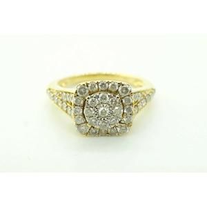 Jewelry - 10K Yellow Gold and Diamonds Womens Cocktail Halo